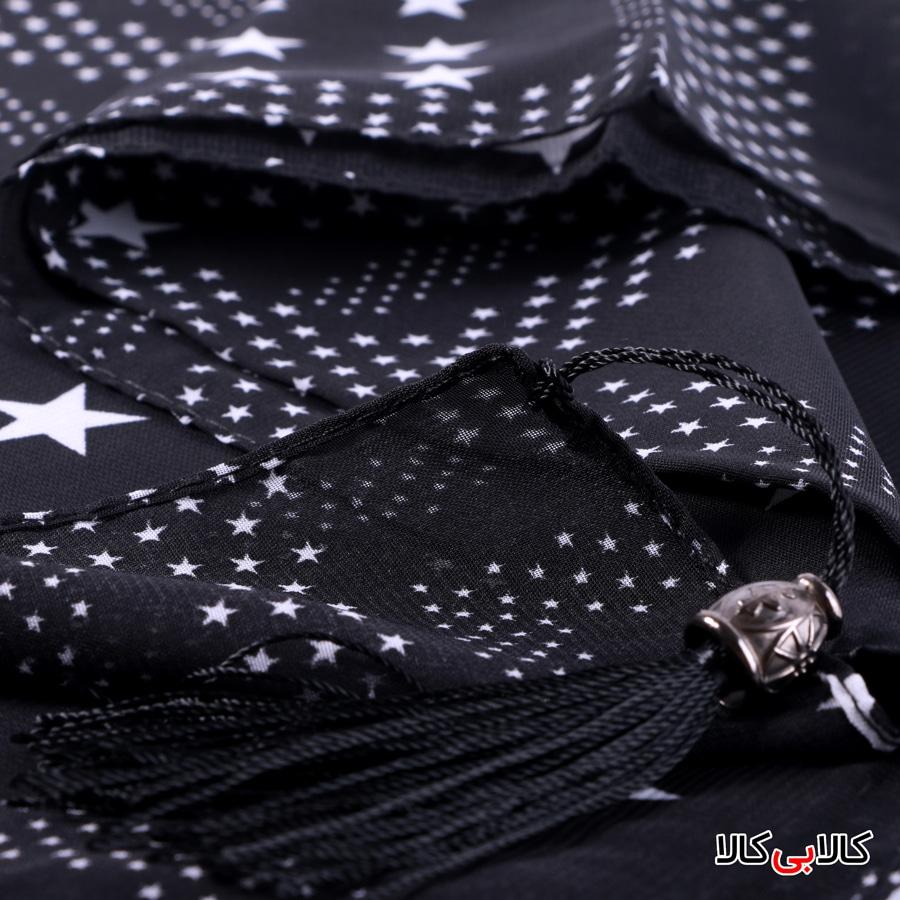 شال حریر زنانه مشکی طرح ستارهدار مدل M4227